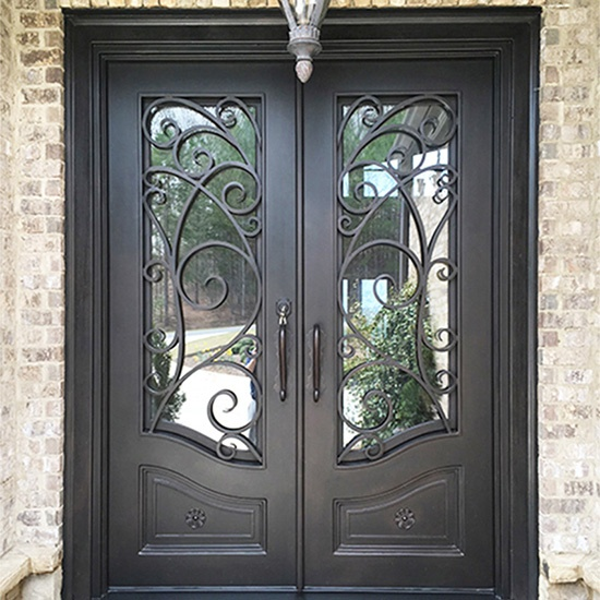 Classical Wrought Iron Double Entry Doors