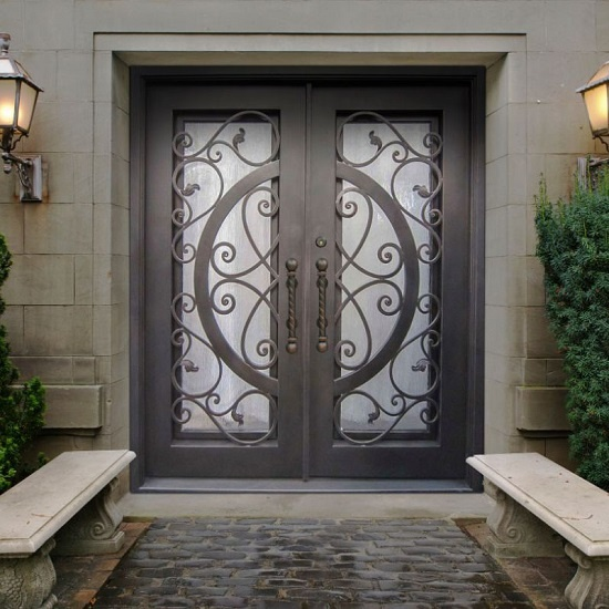 Hi-Q Wrought Iron Double Entry Door With Glass For Willa Or Hotel