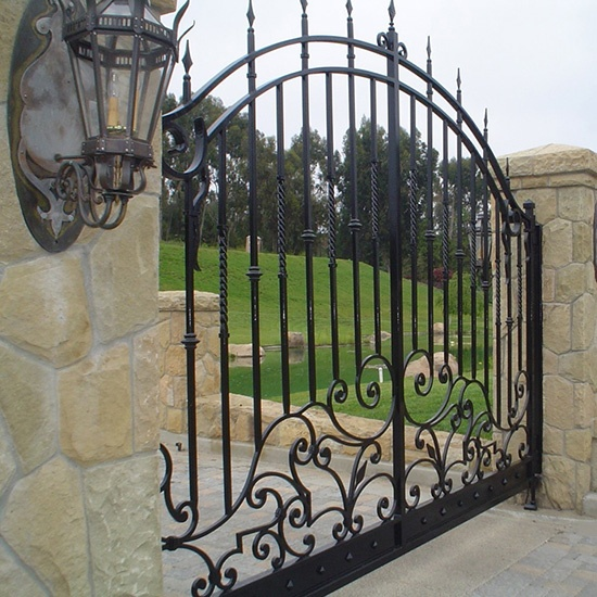 Wrought Iron Gate For Driveway Of Villa Front Yard