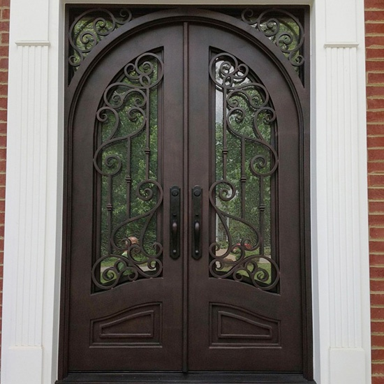 Classical Wrought Iron Entry Door With Arched Door Leaves