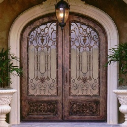 Wrought Iron Door With Glass For Luxury Villa House Or Hotel