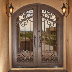 Antique Brass Classical Wrought Iron Entry Door