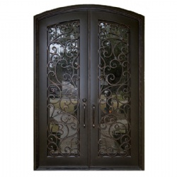 Arch Black European Style Wrought Iron Entry Door