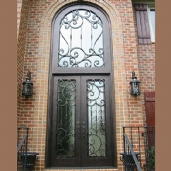 Huge And High Wrought Iron Entry Door With Transom