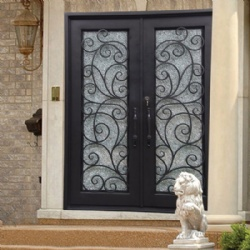 Wrought Iron Entry Door With Ice Glass