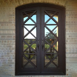 Simple Wrought Iron Double Door With Clear Glass